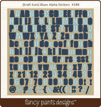 Fancy Pants - Kraft Kuts Blues Alpha Stickers