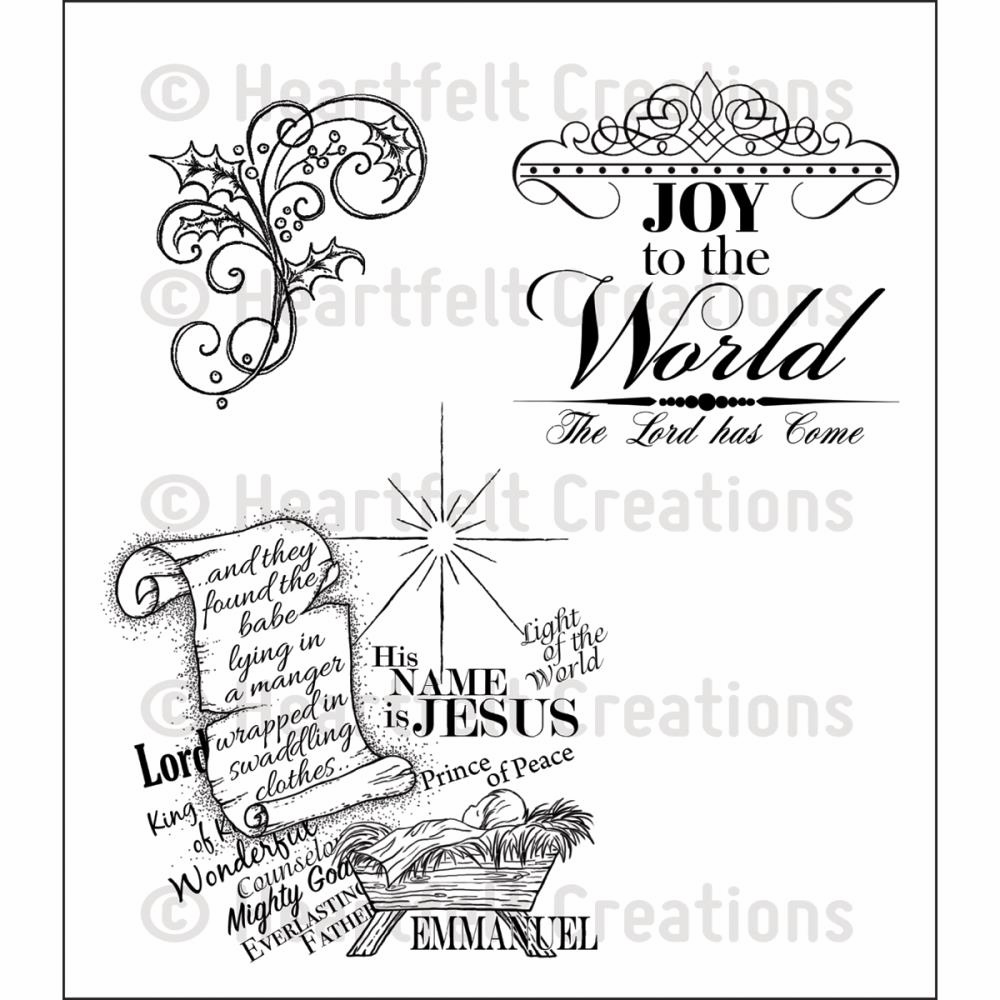 Heartfelt Creations Joy To The World Cling Rubber Stamp Set (S/O)