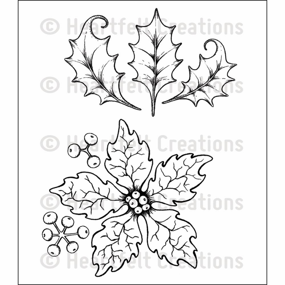 Heartfelt Creations Large Sparkling Poinsettia Cling Rubber Stamp Set  (S/O)