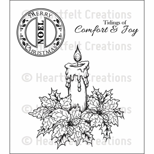Heartfelt Creations Sparkling Poinsettia Candle Cling Rubber Stamp Set  (S/O)