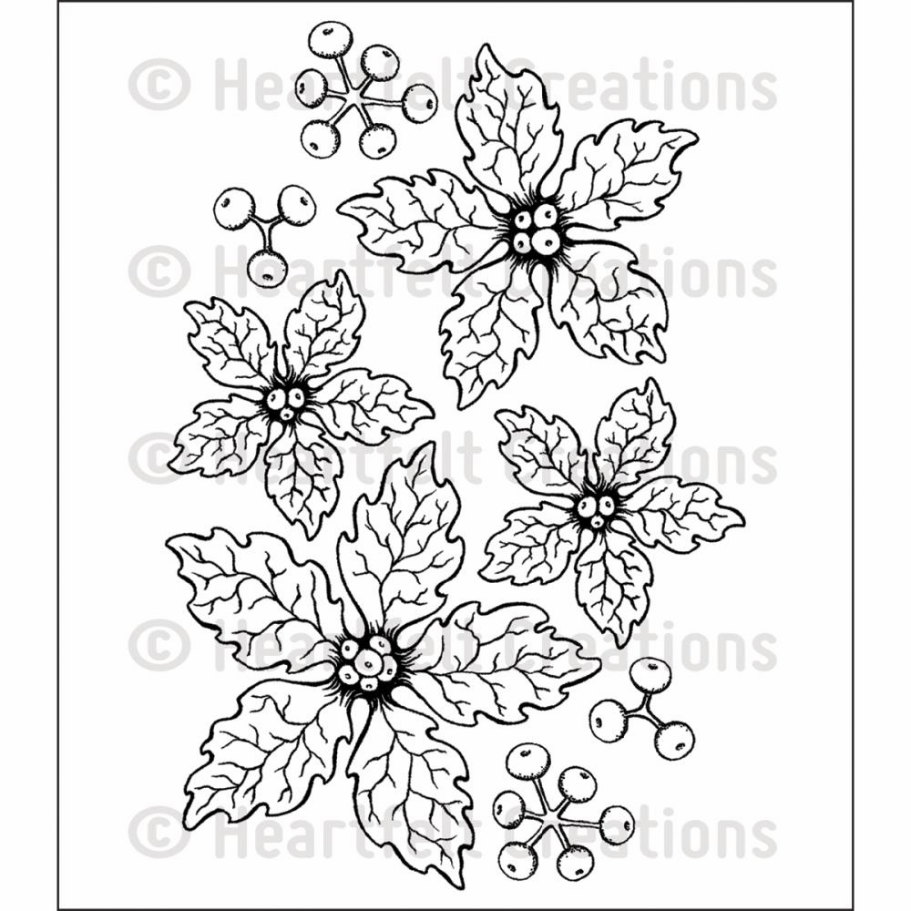 Heartfelt Creations Sparkling Poinsettia Cling Rubber Stamp Set (S/O)
