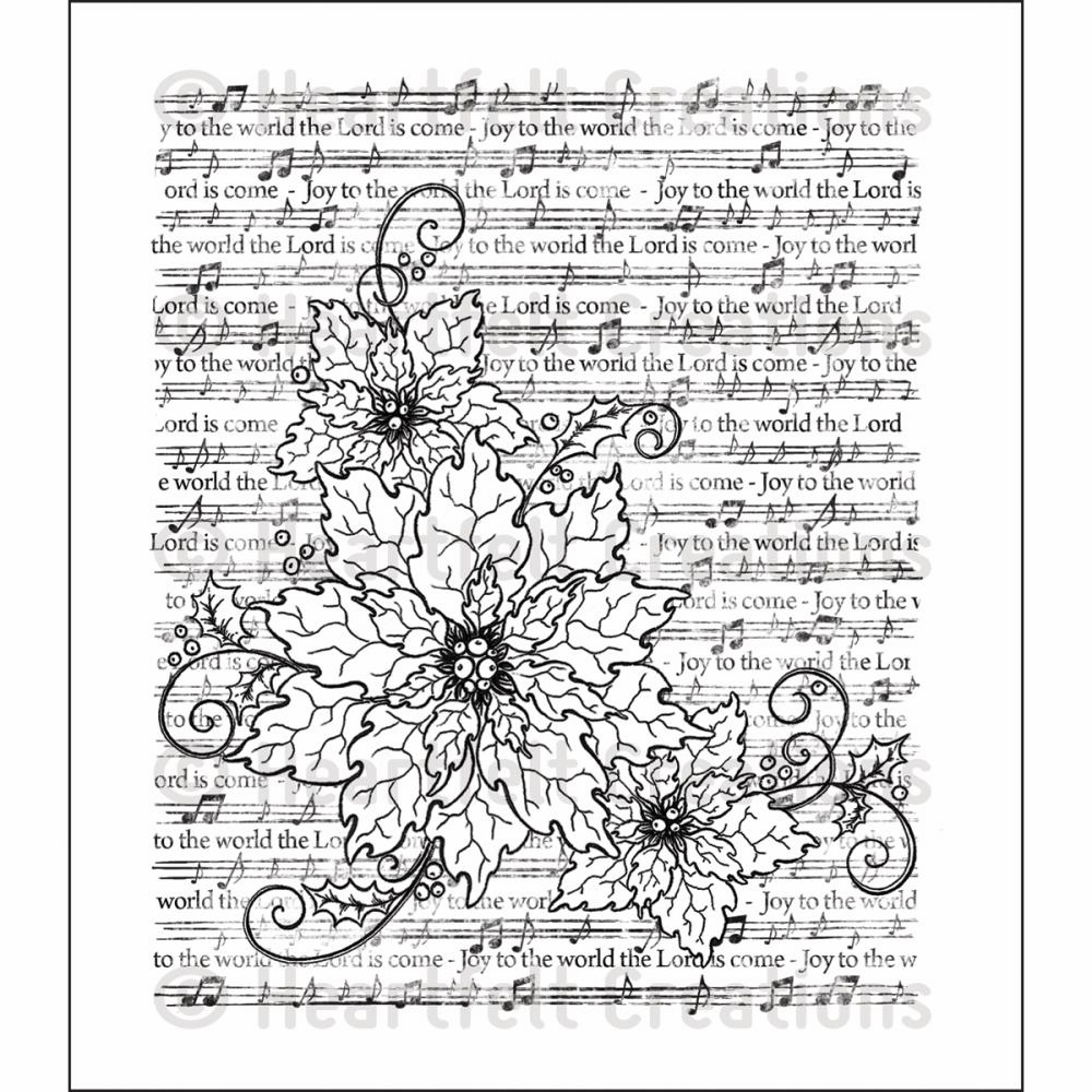 Heartfelt Creations Sparkling Poinsettia Notes Cling Rubber Stamp Set (S/O)