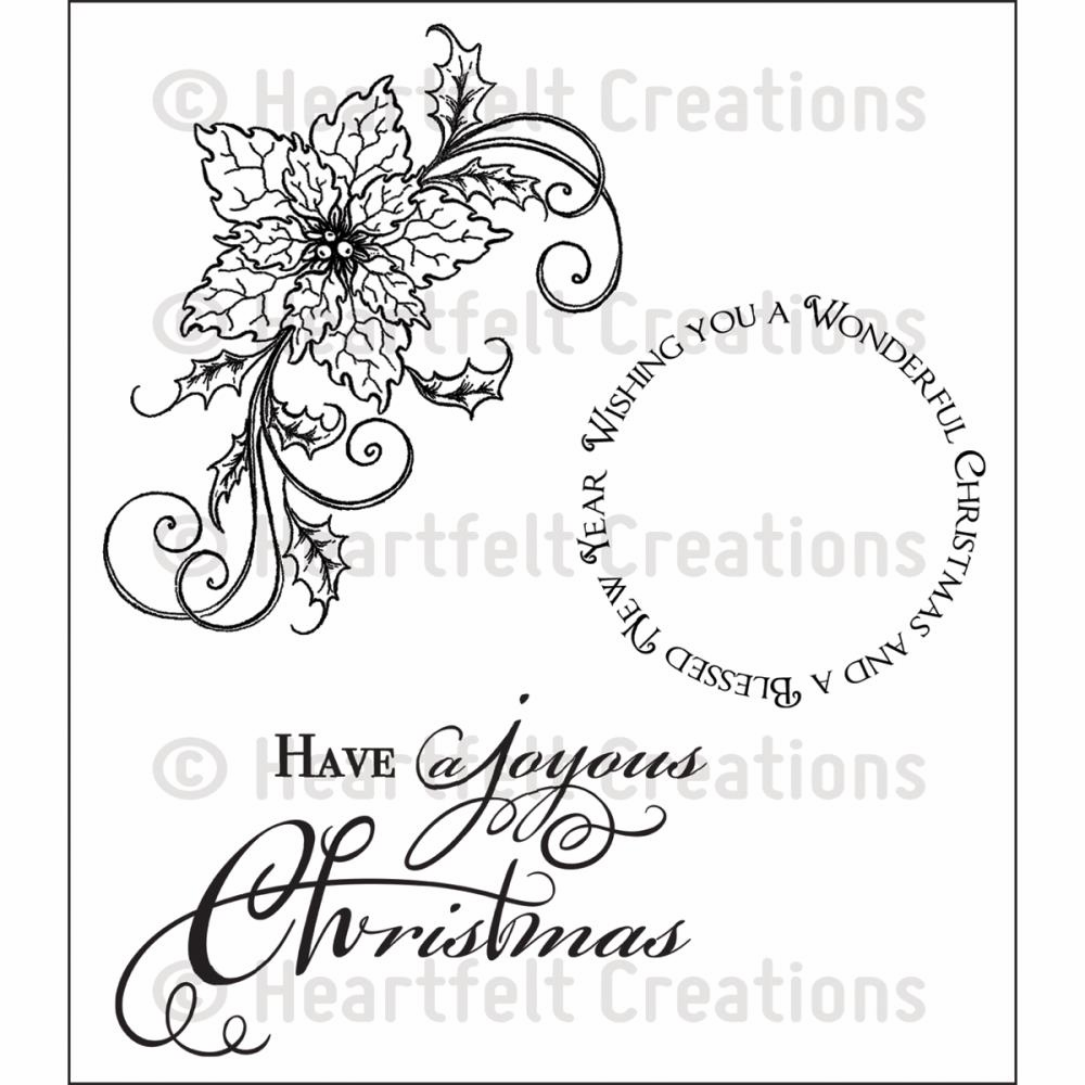 Heartfelt Creations Sparkling Poinsettia Swirl Cling Rubber Stamp Set (S/O)