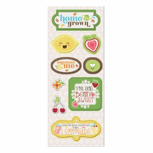 Imaginisce - Berrylicious - Home Grown Chipboard Stickers