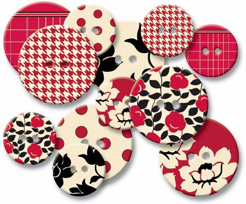 Jenni Bowlin: Chipboard Buttons - Red Line - S/O