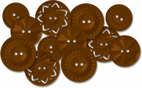Jenni Bowlin: Vintage Style Sew-On Buttons 12/Pkg - Brown - S/O