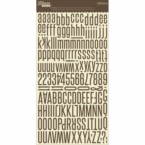 Jillibean Soup - Alphabeans Large Cardstock Stickers - Fig Brown