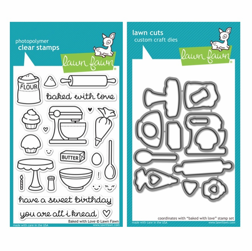 Lawn Fawn - Baked With Love - Clear Stamp Set & Matching Dies - LF805 - LF806 - S/O