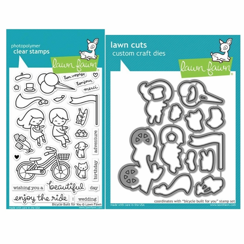 Lawn Fawn Bicycle Built For You Stamp and Die Set LF1323 & LF1324
