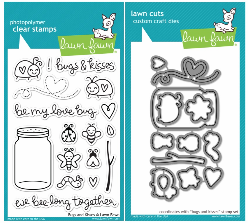 Lawn Fawn - Bugs and Kisses - Clear Stamp Set & Matching Dies - LF789 & LF790 - S/O