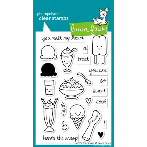 Lawn Fawn - Clear Stamps - Here's The Scoop  - S/O