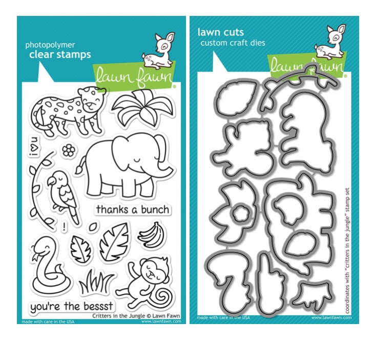 Lawn Fawn - Critters In The Jungle - Clear Stamp Set & Matching Dies - LF803 - LF804 - S/O