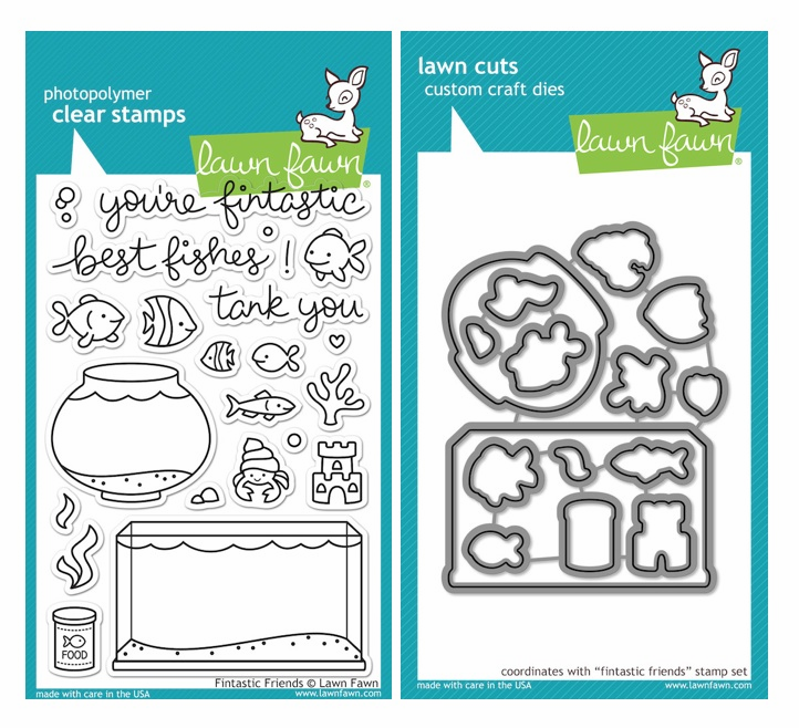 Lawn Fawn Fintastic Friends Clear Stamp Set & Matching Dies LF891 LF892 - S/O