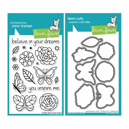 Lawn Fawn - Flutter By - Clear Stamp Set & Matching Dies - LF383 & LF797 - S/O