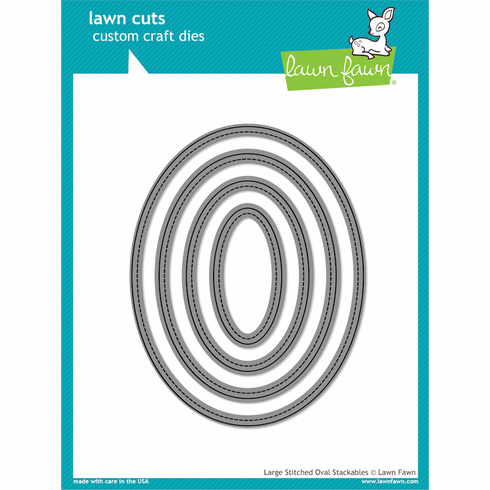 Lawn Fawn Large Stitched Oval Stackables Lawn Cuts Custom Craft Die - S/O