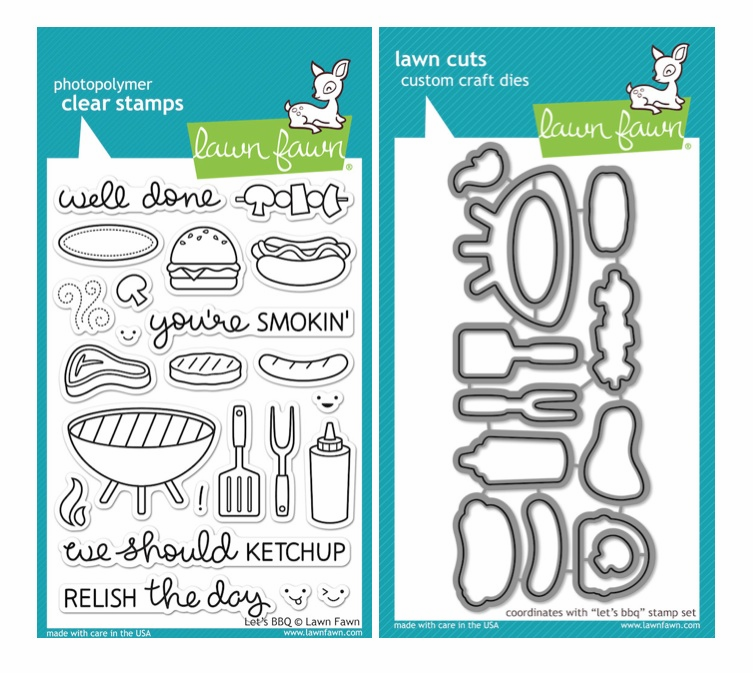 Lawn Fawn Let's BBQ Clear Stamp Set & Matching Dies LF889 LF890 - S/O