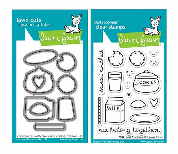 Lawn Fawn - Milk and Cookies - Clear Stamp Set & Matching Dies - LF725 & LF726 - S/O