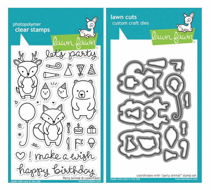 Lawn Fawn Party Animals Clear Stamp Set & Matching Dies LF893 LF894 - S/O