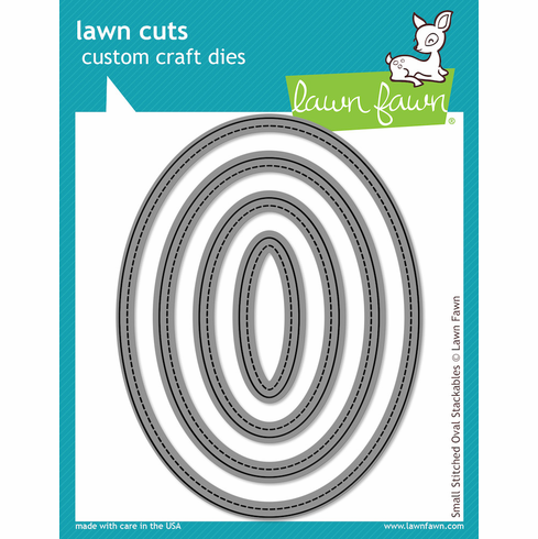 Lawn Fawn Small Stitched Oval Stackables Lawn Cuts Custom Craft Die  - S/O
