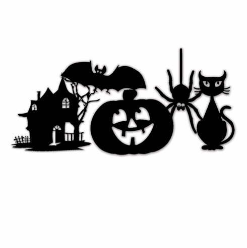 Little Yellow Bicycle Trick Or Treat - Vinyl Stickers Silhouettes Icons