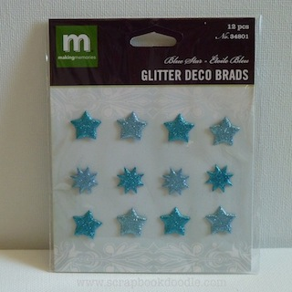 Making Memories: Deco Brads Glitter - Blue Star (E)