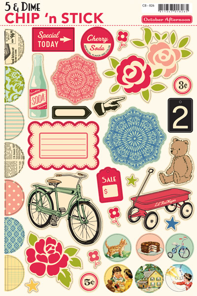 October Afternoon 5 & Dime Chipboard Shape Stickers