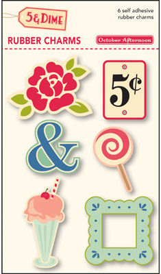 October Afternoon: 5 & Dime - Rubber Charms 6/Pkg