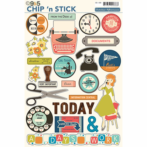 October Afternoon: 9 to 5 - Chipboard Shape Stickers - S/O