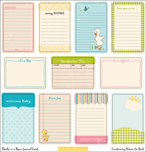 October Afternoon: Ducks in a Row - Journal Cards  - S/O