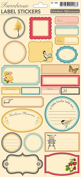 October Afternoon: Farmhouse - Label Cardstock Stickers