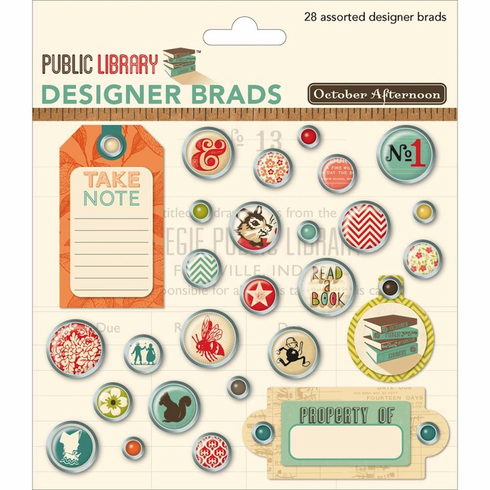 October Afternoon - Public Library - Designer Brads (S/O)