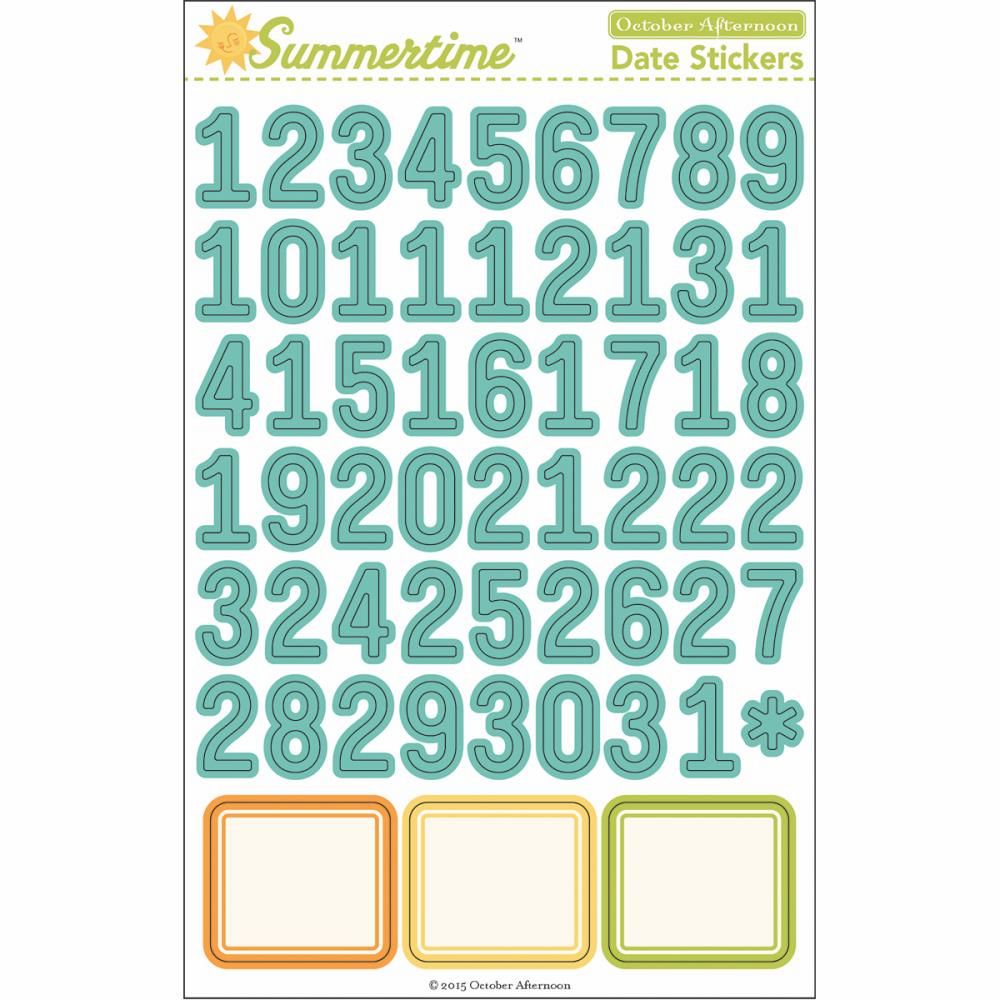 October Afternoon - Summertime - Cardstock Stickers - Date