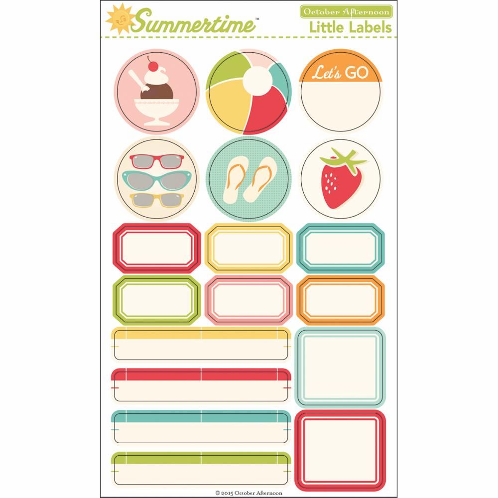 October Afternoon - Summertime - Cardstock Stickers - Little Labels