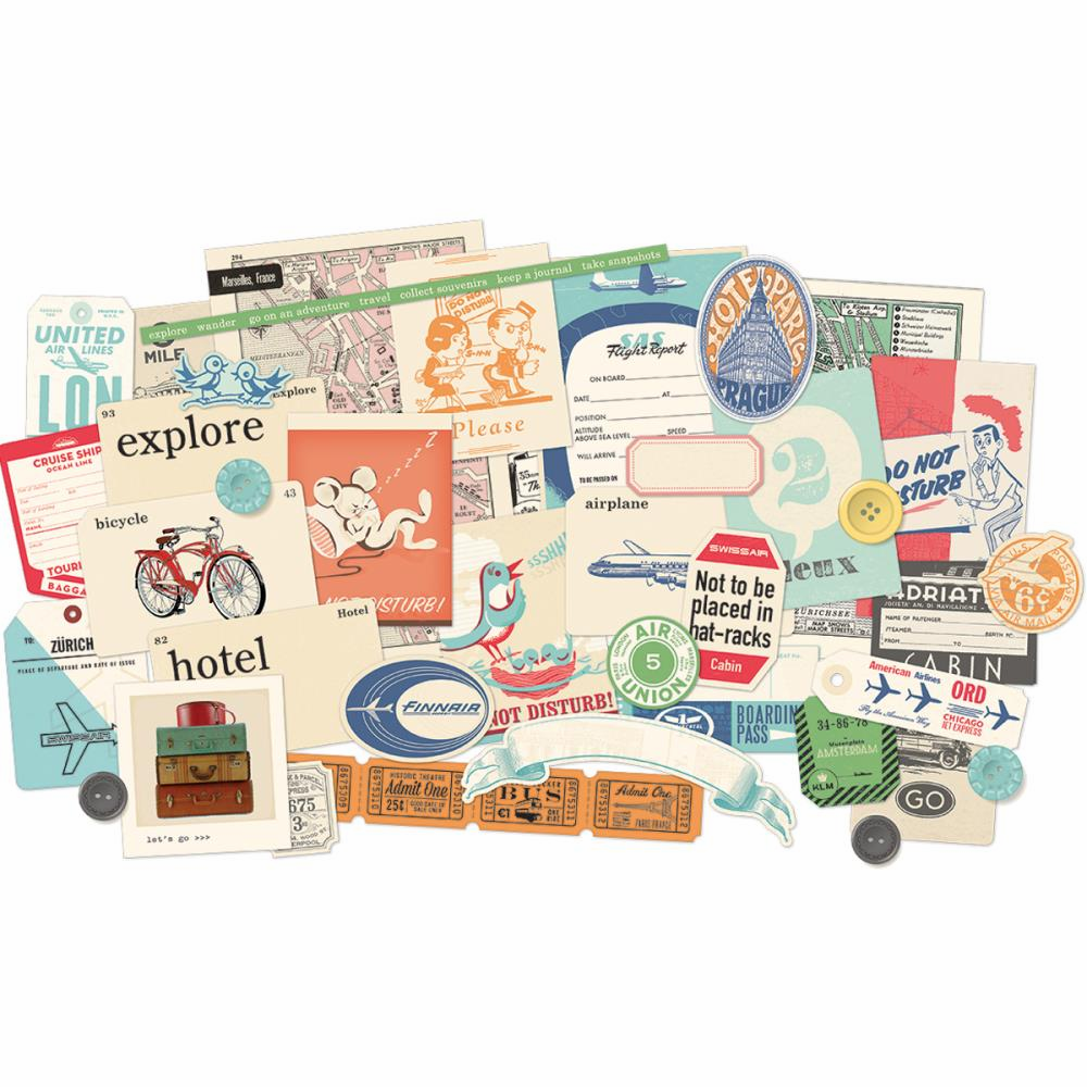 October Afternoon - Travel Girl - Miscellany Embellishment Assortment - S/O