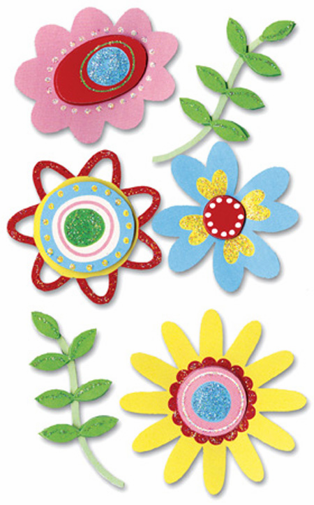 Paper Bliss: Floral Fun  - Dimensional Stickers  (E)