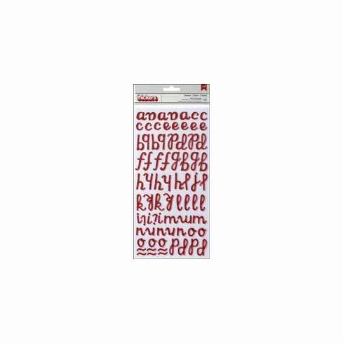 Pebbles: Let Freedom Ring - Glitter Foam Thickers Alpha Stickers - Crimson - S/O