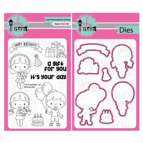Pink and Main Birthday Kids Clear Stamps and Die Set