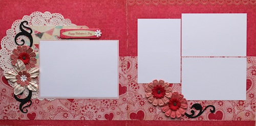 Premade Scrapbook Pages - Happy Valentine's Day