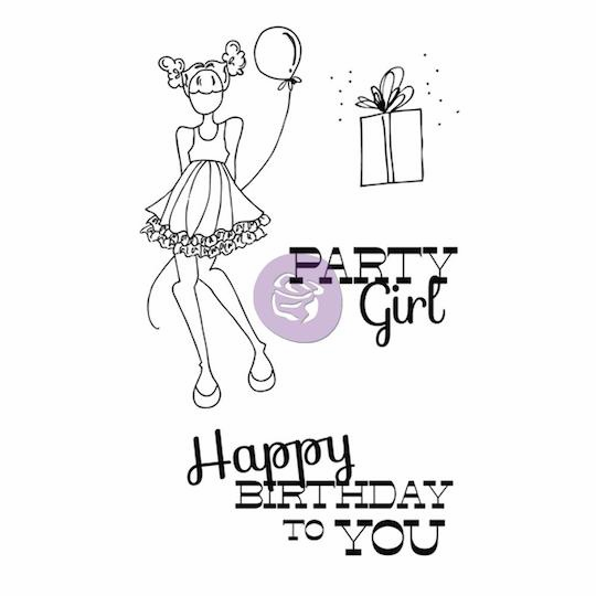 Prima - Julie Nutting - Cling Stamp - Party Girl - S/O