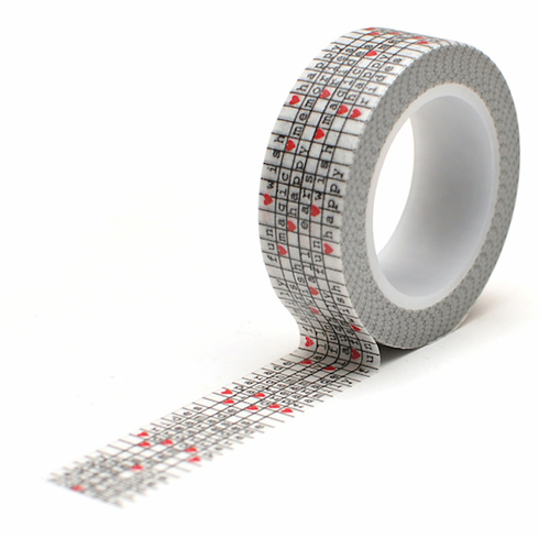 Queen & Co - Magic Trendy Tape 15mm X 10yds - Word Grid (E)