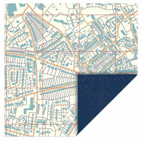 Queen & Co - Travel - 12x12 Double Sided Paper - Map