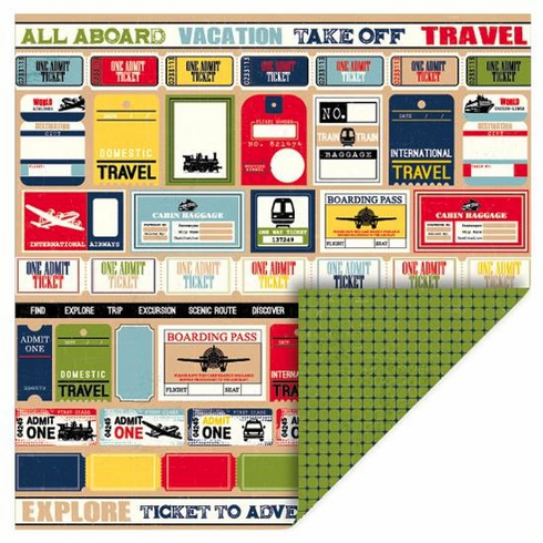 Queen & Co - Travel - 12x12 Double Sided Paper - Tickets