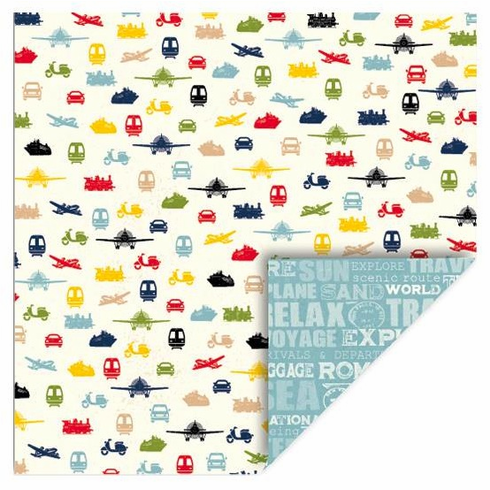 Queen & Co - Travel - 12x12 Double Sided Paper - Vehicles