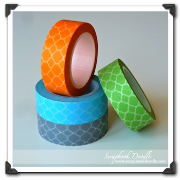 Set of 4 - Love My Tapes - Moroccan Tile Washi Tapes (Green, Sky Blue, Mustard, Gray) - S/O