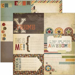 "Simple Stories: Awesome - Elements 12""X12"" - Journaling Card #1 - S/O"