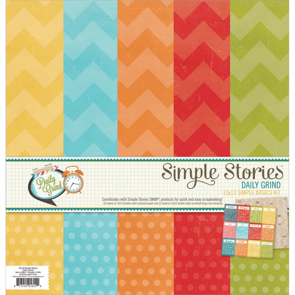 "Simple Stories - Daily Grind - Simple Basic Paper Kit 12""X12"" (S/O)"