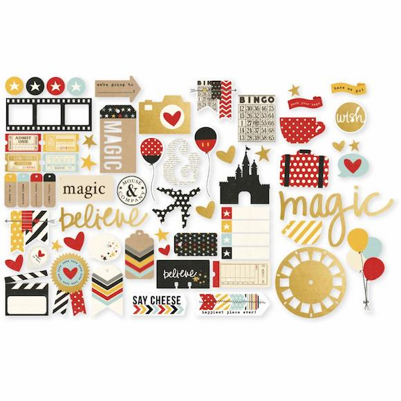 Simple Stories - Say Cheese II - Bits & Pieces - Die-Cuts With Gold Foil Accents (S/O)