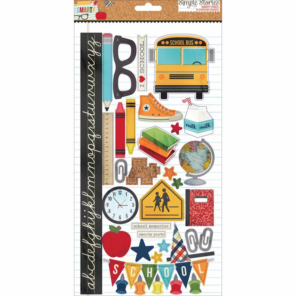 "Simple Stories - Smarty Pants - Chipboard Stickers 6""X12"" - S/O"