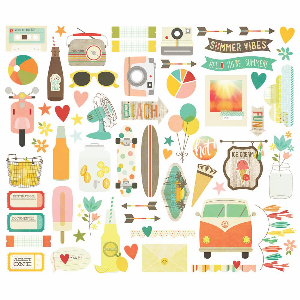 Simple Stories Summer Vibes Bits & Pieces Die-Cuts - S/O