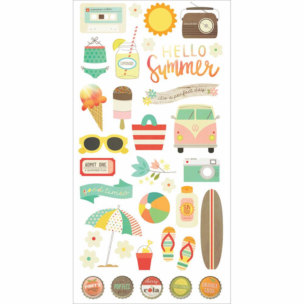 Simple Stories Summer Vibes Chipboard Stickers 6x12
